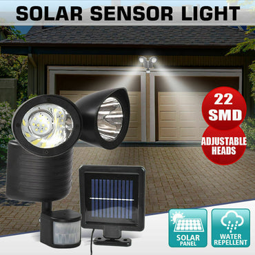22 LED Solar Powered Dual Light Flood Lamp Security PIR Motion Sensor Outdoor
