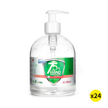 Cleace 24x Hand Sanitiser 500ML Instant Gel Wash 75% Alcohol 99% Anti Bacterial