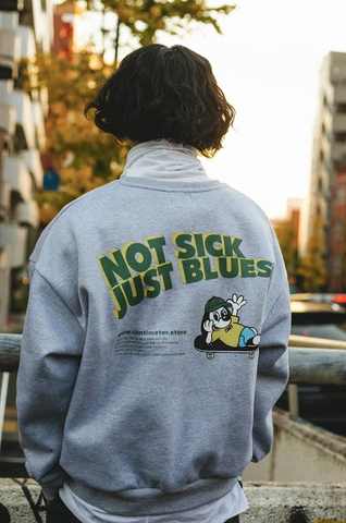 [1/24(日)21:00-Restock]NOT SICK JUST BLUES sweat(グレー)【original】