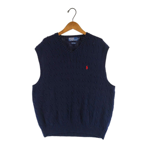 Polo Ralph Lauren navy cotton vest【used】