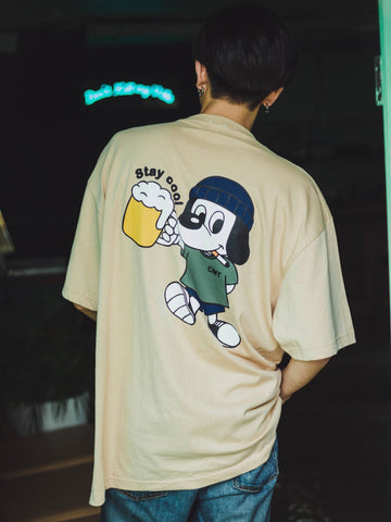 "【7/4 21:00 受注販売】centimeter beer ""stay cool"" tee  (ライトベージュ)【original】"