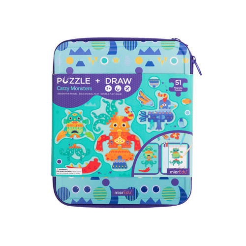 Puzzle & Draw Magnetic Kit - Crazy Monsters - Age 3+