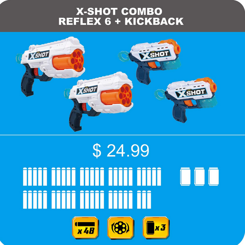 Zuru Xshot 2X Reflex 6 & 2X Kickback (48 Darts 3 CANS) 8years and Up