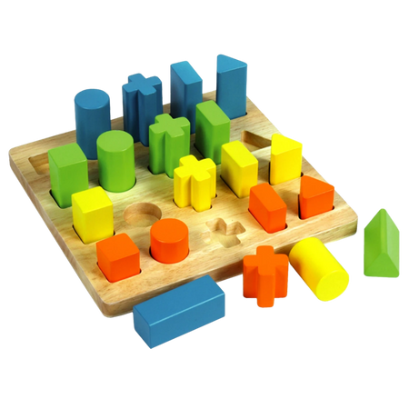 Multi Shape Sorting Board - Wooden Toy -Age 12 mos+