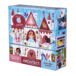 Crocodile Creek Little Architect Girl Builder Jumbo Block Mix and Match Stacking Toy Set, Multi Color for 3 and up