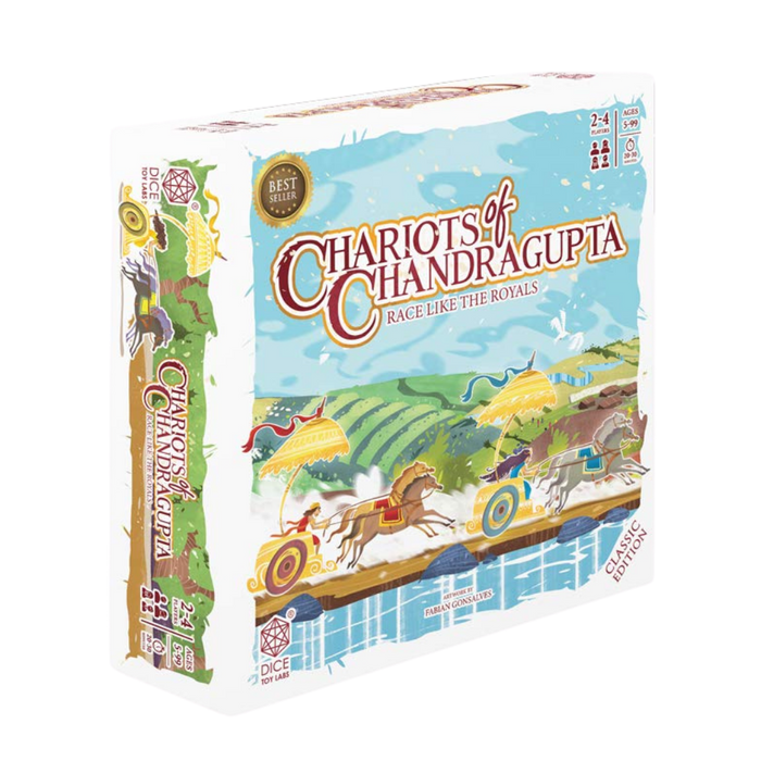 DICE TOY LABS - Chariots of CHANDRAGUPTA - Classic Edition - an Indian Chariots Racing Game for Girls and Boys of Ages 5 Years and Above
