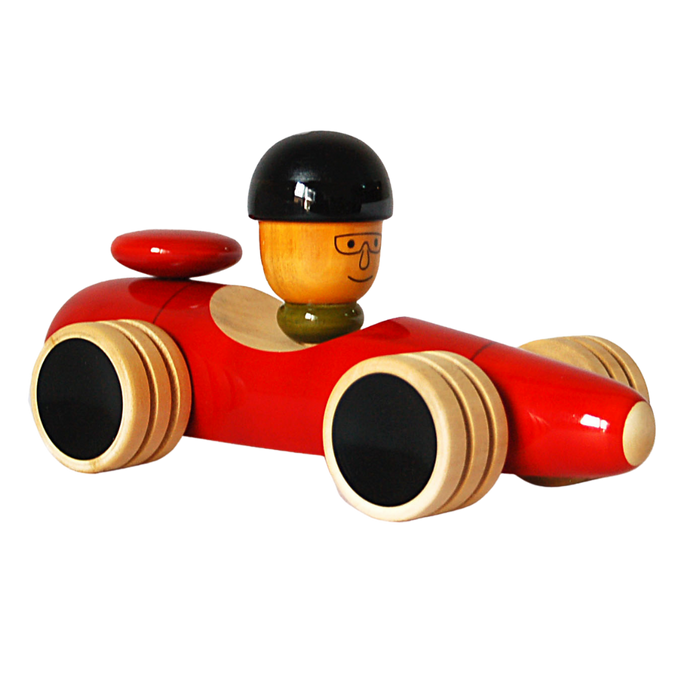 Vroom  - Wooden Racing Car Push Toy - Age 1+