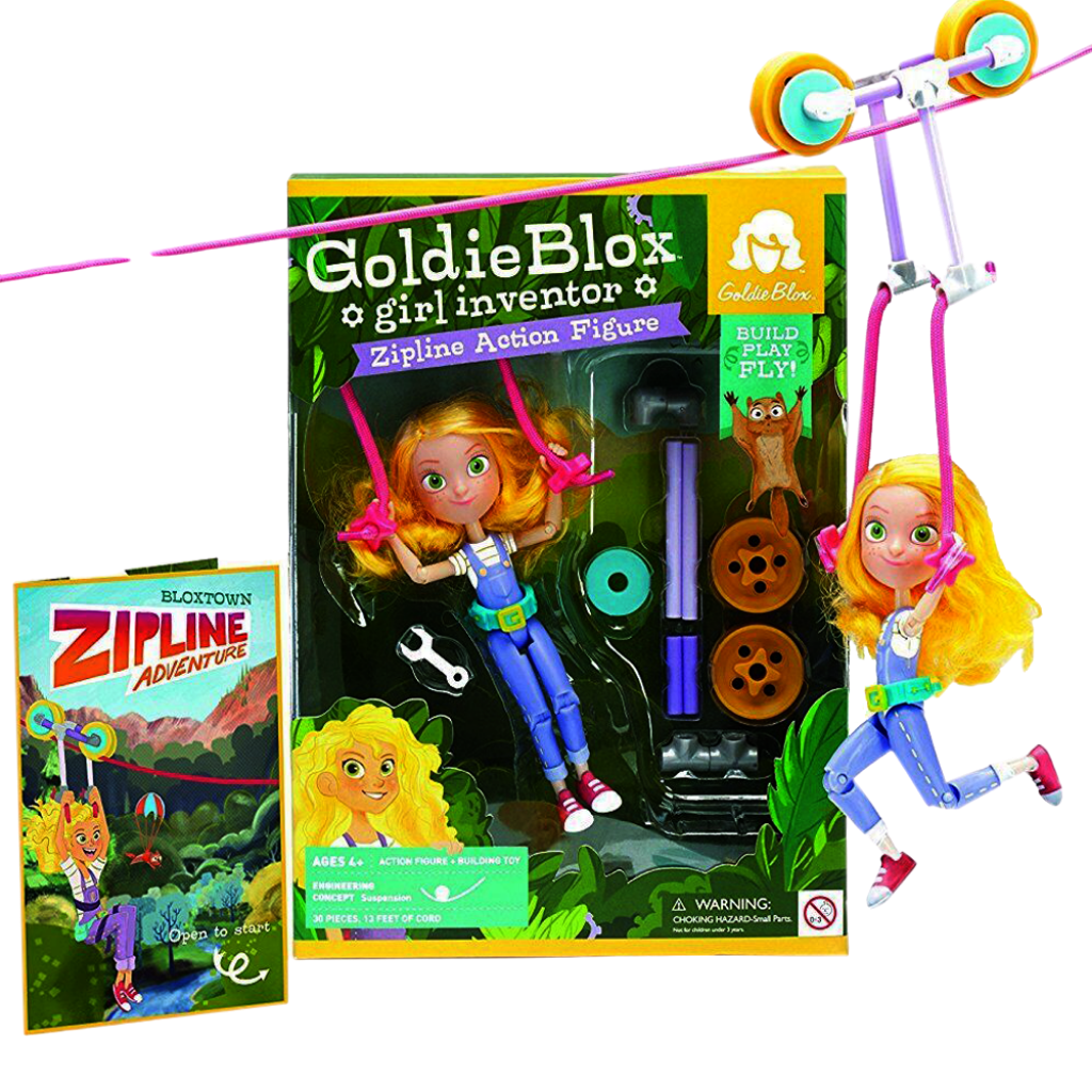 GoldieBlox-The Girl Inventor Zipline Action Figure Role Playing Toy-for the age 4 and up