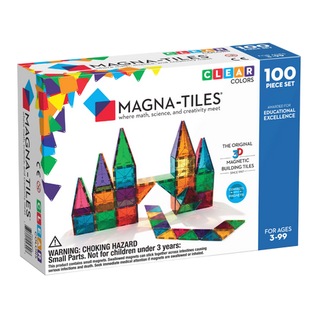 Magna-Tiles Clear Colors 100 Pcs Magnetic Set for the age 3 and up