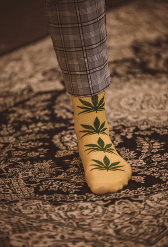 weed socks yellow green