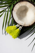 Load image into Gallery viewer, summer earrings juicy lime green bright coconut palms white black