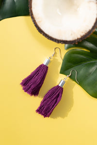 tropical earrings purple haze coconut green yellow