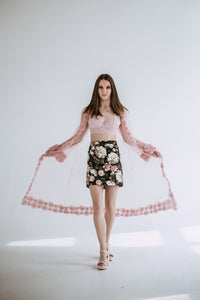 sustainable fashion brand mini skirts with flowers
