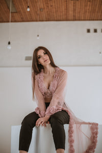 pink summer rose kimono for womens