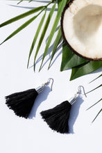 Load image into Gallery viewer, Black summer earrings coconut babby