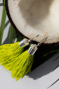 green tropical earrings