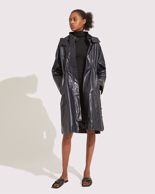 Manteau en cuir long