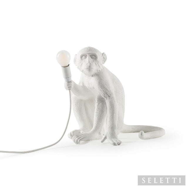 Seletti Sitting White Monkey Lamp - White