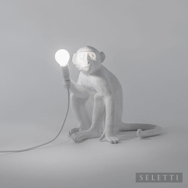 Seletti Sitting White Monkey Lamp