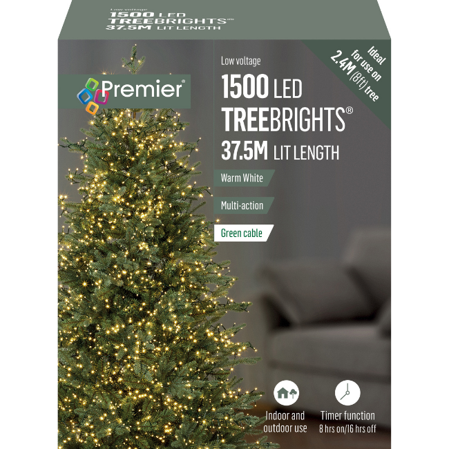 1500 Warm White Christmas Lights