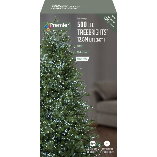 Premier 500 LED Treebrights with Timer (White) Christmas Lights