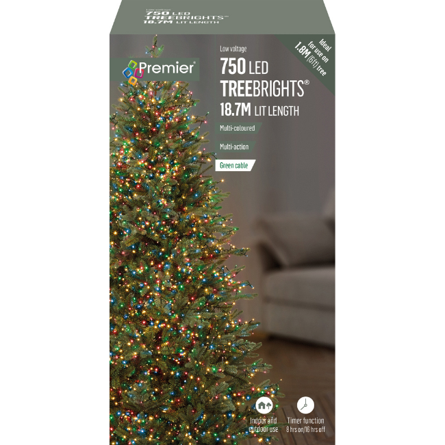 750 Multicoloured Christmas Lights LED Treebrights