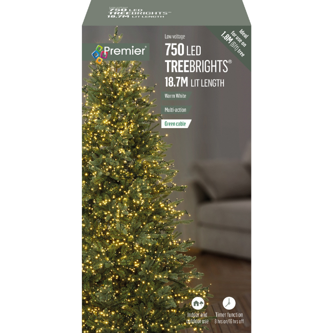 Warm White Christmas Lights 750 LED Premier Treebrights