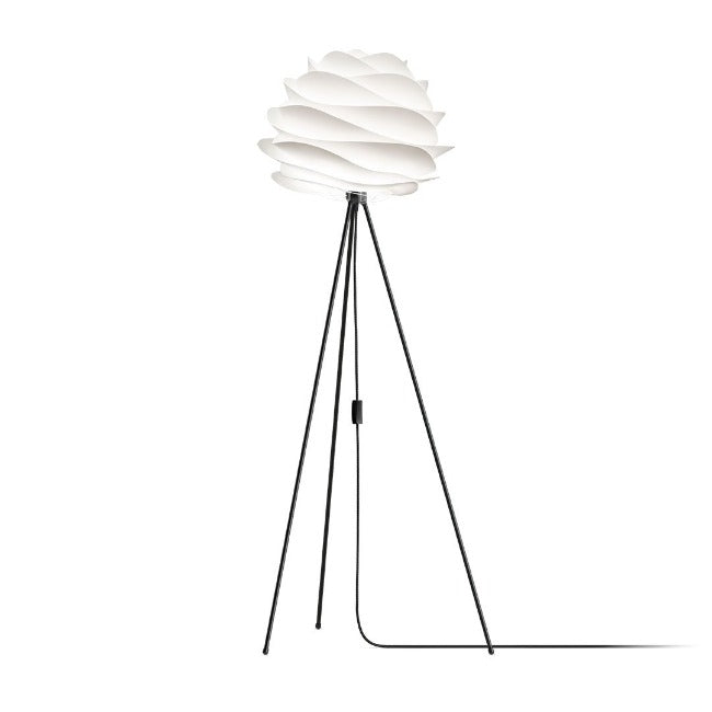 Carmina White (Medium) - Floor Lamp (Black Stand)