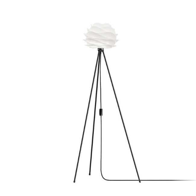 Carmina White (Mini) - Floor Lamp (Black Stand)