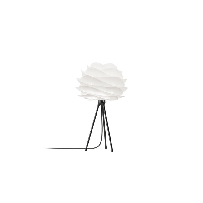 Carmina White (Mini) - Table Lamp (Black Stand)