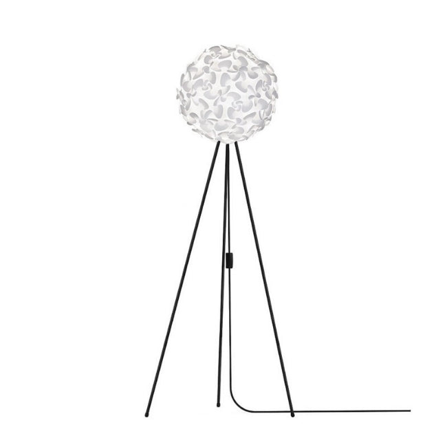 Lora White - Floor Lamp (Black Stand)