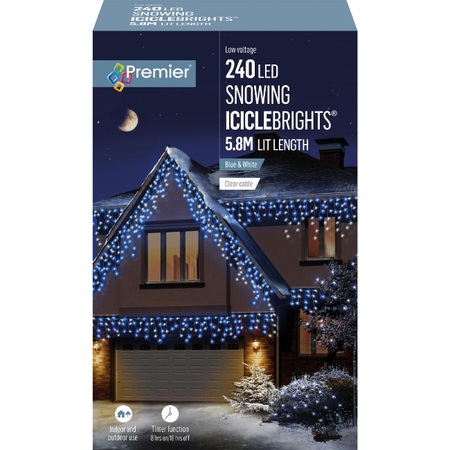 Premier 240 LED Snowing Icicle Brights (Blue & White) - 5.8M Lit Length