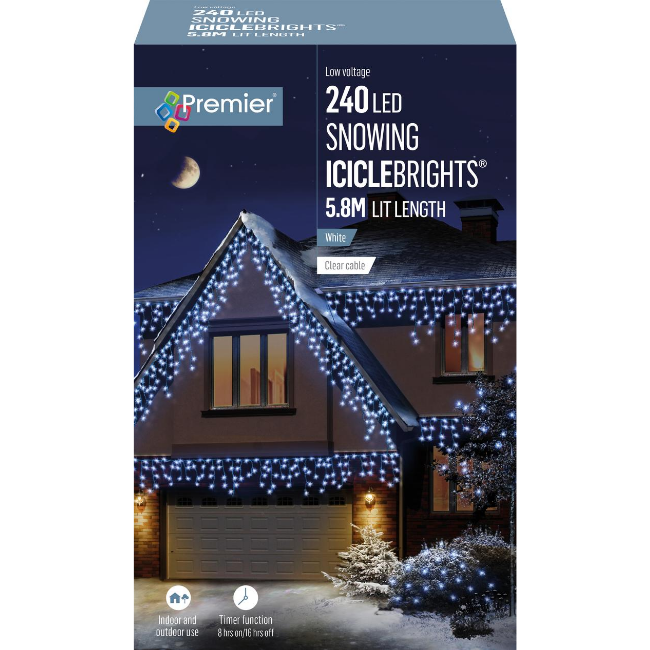 Premier 240 LED Snowing Icicle Brights (White) - 5.8M Lit Length