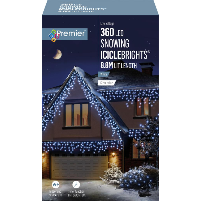 Premier 360 LED Snowing Icicle Brights (White) - 8.8M Lit Length