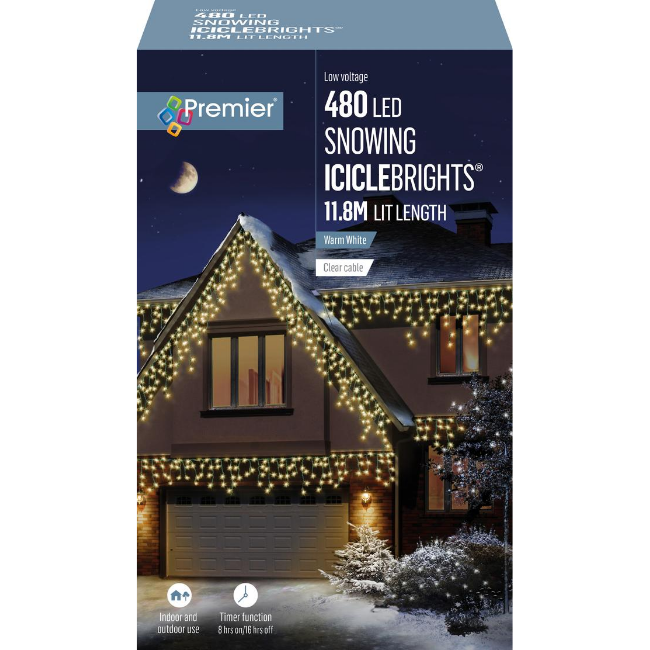Premier 480 LED Snowing Icicle Brights (Warm White) - 11.8M Lit Length