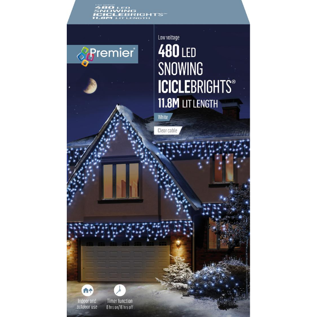Premier 480 LED Snowing Icicle Brights (White)
