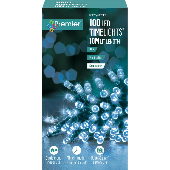 Premier 100 LED Battery Operated Timelights (Blue) - 10M Lit Length