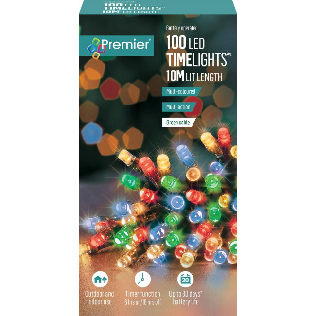 Premier 100 LED Battery Operated Timelights (Multi-Coloured) - 10M Lit Length