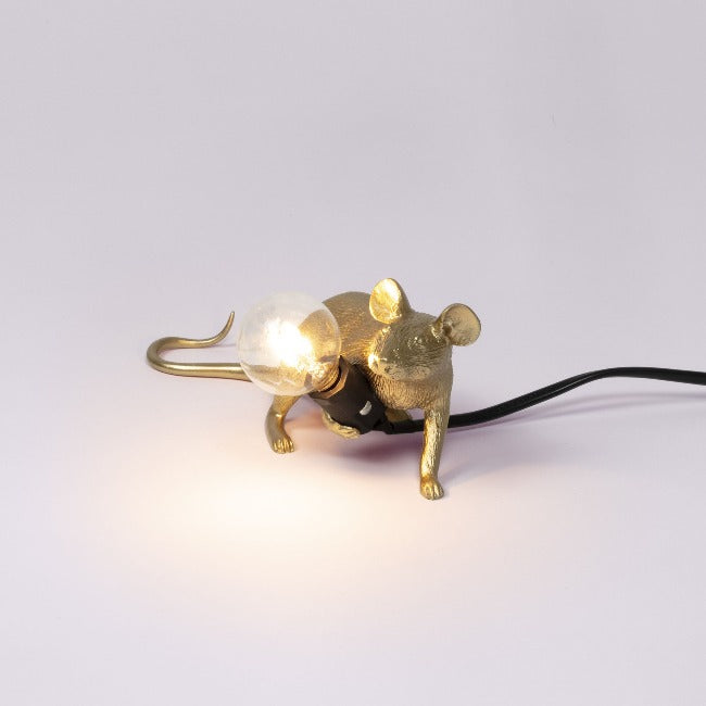 Seletti Mouse Lamp - Lying Down - Gold