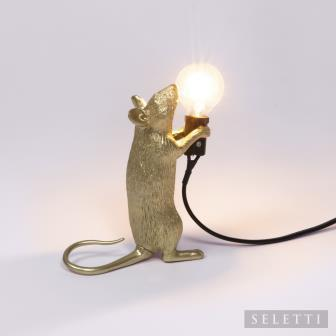 Seletti Mouse Lamp - Standing - Gold