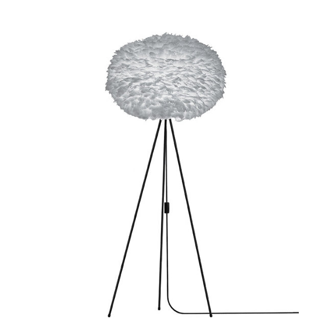Eos Grey (Large) - Floor Lamp (Black Stand)