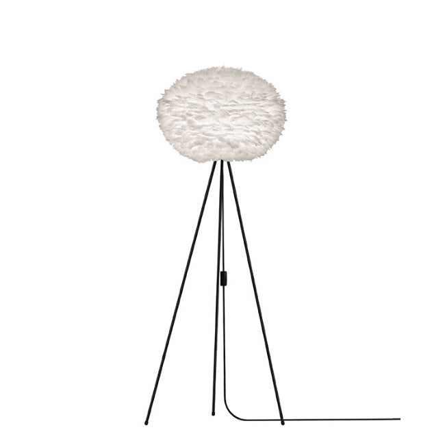 Eos White (Large) - Floor Lamp (Black Stand)