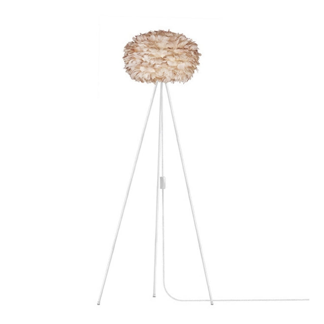 Eos Brown (Medium) - Floor Lamp (White Stand)