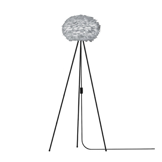 Umage Eos Grey (Medium) - Floor Lamp (Black Stand)