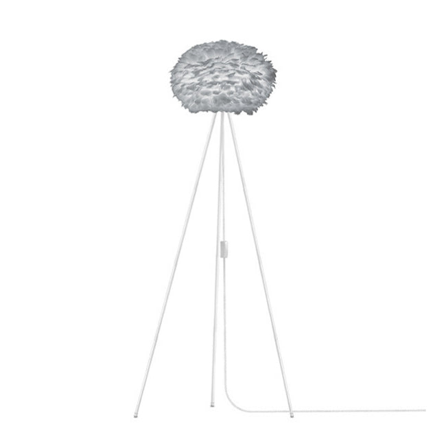 Eos Grey (Medium) - Floor Lamp (White Stand)