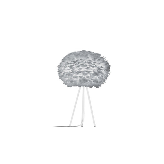 Eos Grey (Medium) - Table Lamp (White Stand)