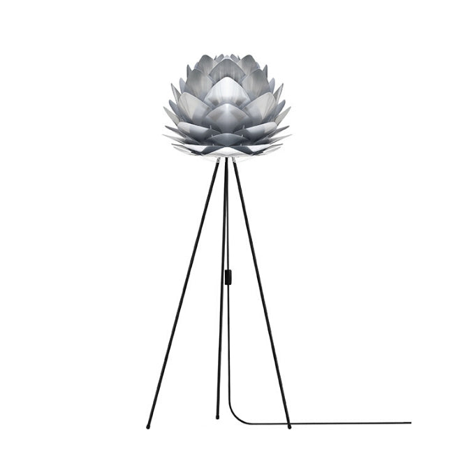 Silvia (Medium) - Brushed Steel - Floor Lamp (Black Stand)