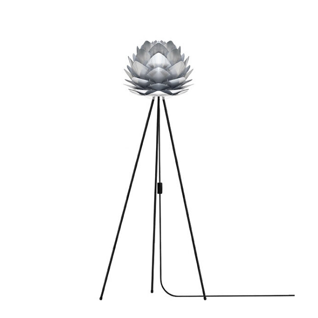 Umage Silvia Brushed Steel (Mini) - Floor Lamp (Black Stand)