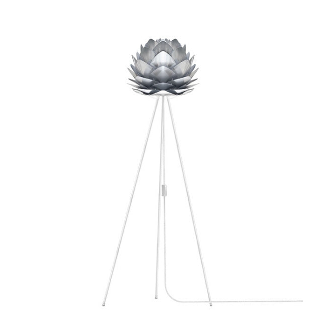 Silvia Brushed Steel (Mini) - Floor Lamp (White Stand)
