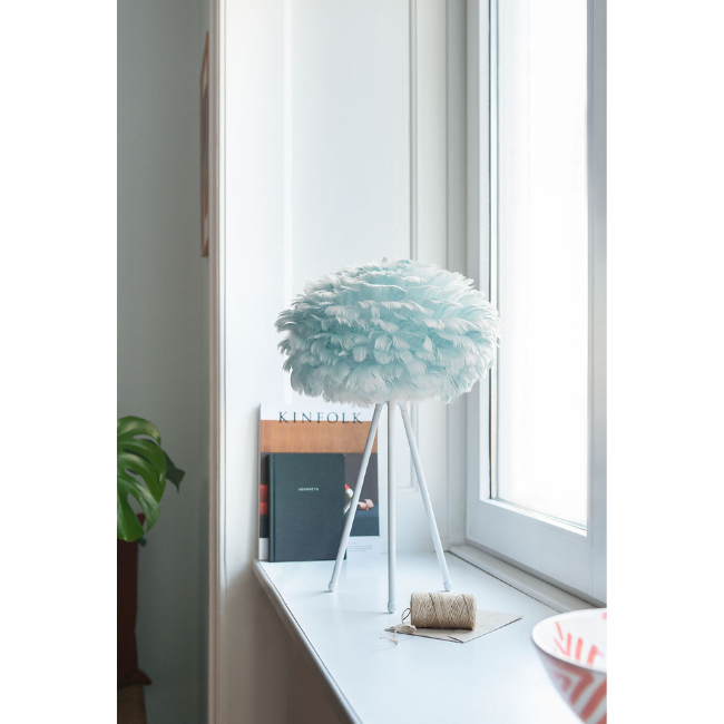 Blue feather table lamp